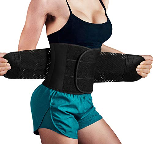 Hourglass Waist Trainer Trimmer Slimming Belt - Hot Neoprene Sauna Sweat Belly Band Body Shaper for Weight Loss Back Support (Black, M (Waistline 29.5''-32.3''))