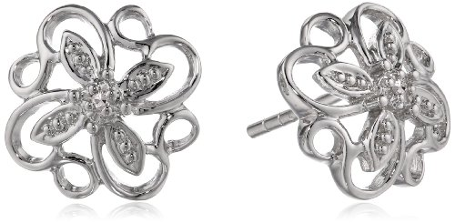 Sterling Silver Flower Diamond Earrings (0.01 cttw, I-J Color, I2-I3 (Diamond Floral Stud)