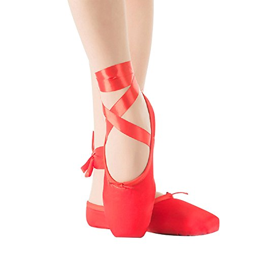 Girl's Red Pointe Shoes for Ballet Leather Sole with Free Gel Silicone Toe Pads and Ribbons (UK4.5 (Foot length:235mm=9.25 inch))