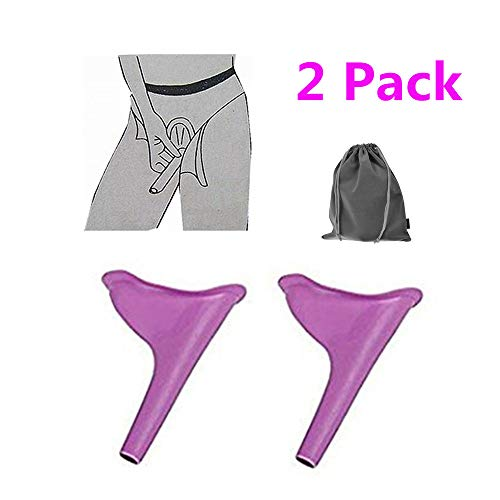 Travel Lightweight Female Urination Device - Women Portable Urinal Funnel Lets You Pee Standing up-Lightweight Perfect Camping Traveling Climbing Festivals Outdoor Activities(2 pack with free bag)