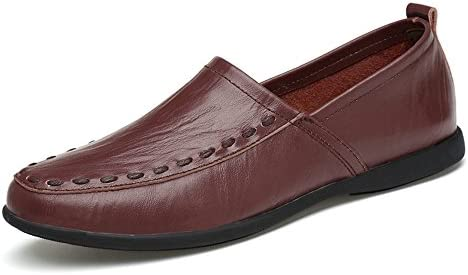 You Are Fashion メンズ本革モカシンスエードインソールファッションスリップオンカジュアルメンズローファー高品質金属装飾アップリケ本物の本革の靴男フラットシューズ (Color : Dark Brown Breathable Style, サイズ : 24 CM)