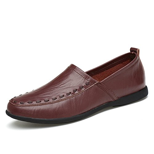on con 43 scamosciata da Mocassini shoes uomo Marrone Hongjun EU in in scuro Mocassino vera slip fodera uomo 2018 pelle Dimensione Color pelle tCx0q