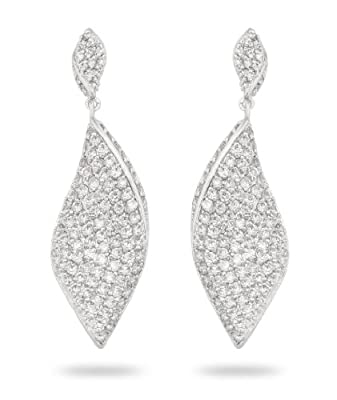 Mother's Day JanKuo Jewelry Bridal, Prom Pave Cubic Zirconia Drop Earring in Gift Box