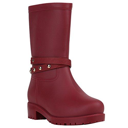 Rockige Damen Stiefeletten Gummistiefel Profilsohle Wasserdichte Boots Stiefel Gumistiefeletten Lack Damenschuhe Nieten Flandell Dunkelrot Gold