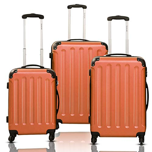 Goplus 3Pcs Luggage Set, Hardside Travel Rolling Suitcase, 20/24/28 Rolling Luggage Upright, Hardshell Spinner Luggage Set with Telescoping Handle, Coded Lock Travel Trolley Case (Orange)