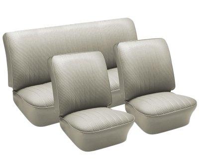 Basketweave Seat (VW Seat Upholstery, Full Set, Off-White Basketweave Vinyl, Beetle 1958-1964)