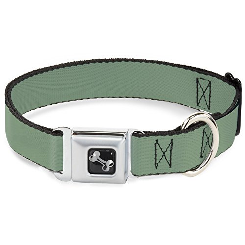 Dog Collar Seatbelt Buckle Khaki Green 16 to 23 Inches 1.5 Inch Wide ()
