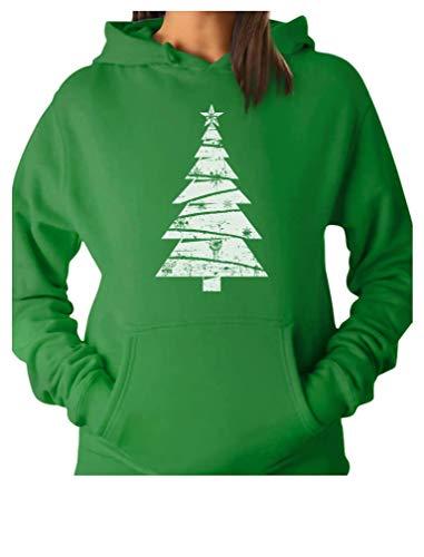 24.9 Big White Distressed Christmas Tree - Xmas Gift Idea Women Hoodie