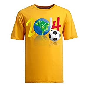 Brasil 2014 FIFA World Cup Theme Short Sleeve T-shirt,Football Background Mens Cotton shirts for Fans yellow by Maris's Diary
