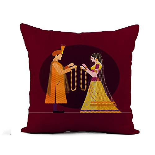 (Awowee Flax Throw Pillow Cover Indian Wedding Bride and Groom Hindu India Beautiful Woman 18x18 Inches Pillowcase Home Decor Square Cotton Linen Pillow Case Cushion Cover)