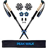 PEAK WALK Trekking Poles, Ultra-Light 7.5 oz, 3K Carbon Fiber Hiking Poles, Collapsible Walking Sticks with Metal Flip-Lock and EVA Foam Grips - 1 Pair Black