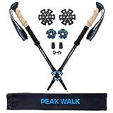 PEAK WALK Trekking Poles - 100% 3K Carbon Fiber Poles, Ultralight & Collapsible