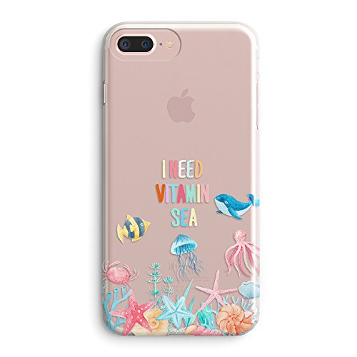 iPhone 7 Plus Case,iPhone 8 Plus Cute Case,Seaworld Tropical Beach Starfish Whale Saying I Need Vitamin Sea Blue Ocean Anemone Fish Shells Octopus Summer Clear Soft Case for iPhone 8 Plus/7 Plus (Fish And Water Iphone Case)