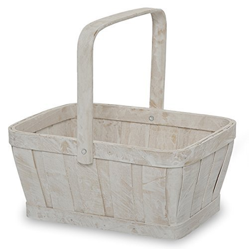 [The Lucky Clover Trading White Wash Rectangular Woodchip Handle Basket] (Rectangular Chip)