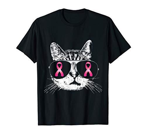 Breast Cancer Awareness T-Shirt Pink Ribbon Cat Sunglasses ()