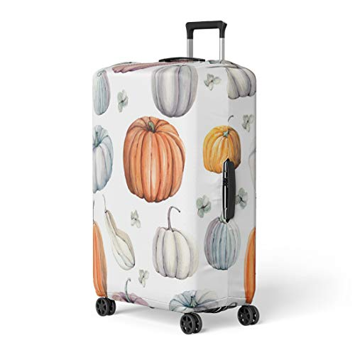 Semtomn Luggage Cover Autumn Watercolor Pumpkins It Is Thanksgiving Halloween Recipe Food Travel Suitcase Cover Protector Baggage Case Fits 26-28 Inch]()