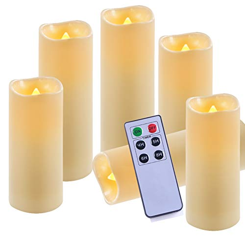 Homemory Pack of 6 Waterproof Flameless Candles Set with Remote & Timer LED Flickering Pillar Candle (H 6
