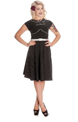 Hell Bunny Black and White Polka Dot Cap Sleeve Noreen Dress (S)