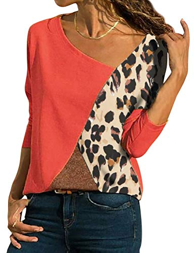 Women Leopard Print Patchwork Tee Shirts Colorblock Long Sleeve Casual Tops Blouse Red