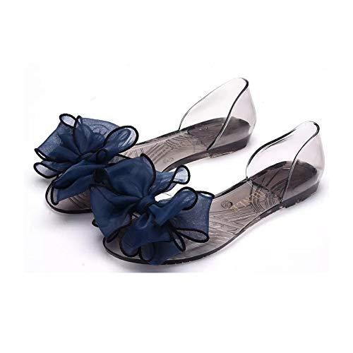 - heipeiwa Women Sandals Bow Flowers Flats Jelly Shoes Peep Toe Summer Beach Sandals Dark Blue