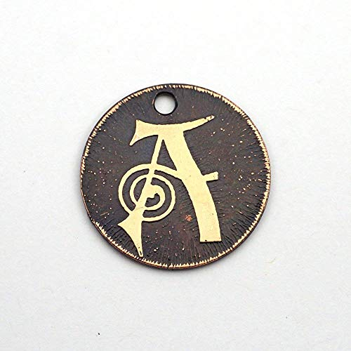 Small round handmade etched copper letter A charm, 22mm