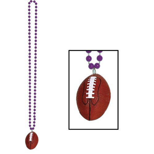 Beads w/Football Medallion (blue) Party Accessory  (1 count)
