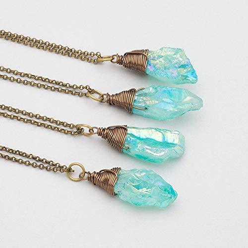 Raw Light Aqua Blue Crystal Aura Quartz Antique Bronze Bohemian Pendant Necklace 18 Inches (Crystal Aura Aqua Quartz Pendant)