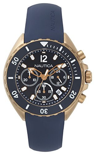 Nautica Men's New Port Stainless Steel Quartz Watch with Silicone Strap, Blue, 22 (Model: NAPNWP007) ()