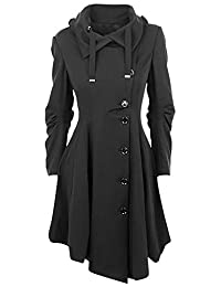 QZUnique Women's Long Personality Collar Outwear Slim Trench Coat