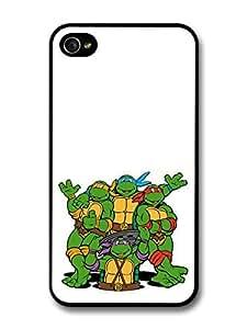 AMAF ? Accessories Ninja Turtles Cartoon Illustration Waving Hands case for iPhone 4 4S
