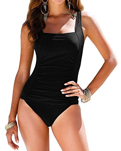 Firpearl Women's Retro One Piece Bathing Suit Ruched Tummy Control Swimsuit Black US14