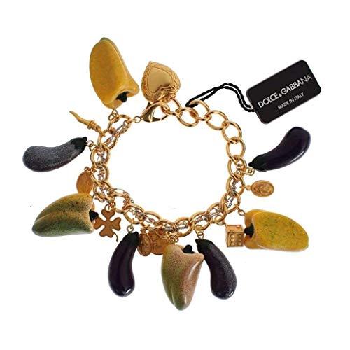 Dolce & Gabbana Gold Brass Aubergine Paprika Sicily Charms Bracelet