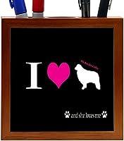Rikki Knight I Love My Border Collie Dog Design 5-Inch Wooden Tile Pen Holder (RK-PH8501)