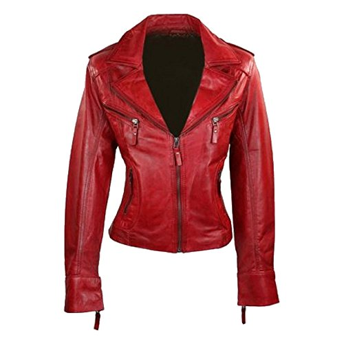 Ladies Bomber Jacket Lambskin Original Leather Motorcycle Biker Style Wax Coated for sale on Amazon (Coated Biker Style Jacket)