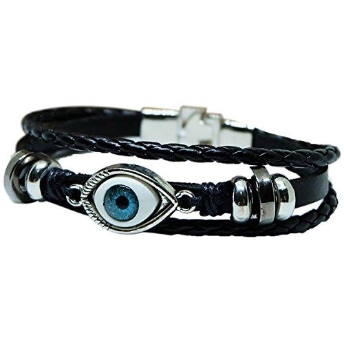 Evil Eye Charm Bracelet   Black Leather Bracelet