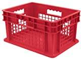 Akro-Mils 37278 16-Inch by 12-Inch by 8-Inch Straight Wall Container Plastic Tote with Mesh Sides and Solid Base, Case of 12, Red