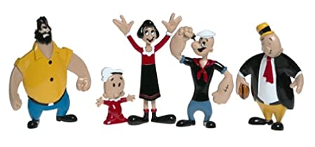 NJ Croce Retro Popeye Bendable Figures Set, Multi Color Figures at amazon