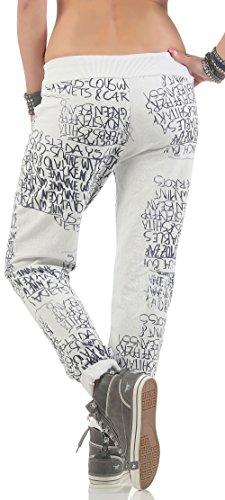 malito Pantalón de Chándal con Tipo de Imprenta Único 3570 Mujer Talla Única blanco