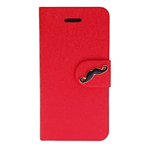 Silk Print PU Full Body Case with Mustache Button and Card Slot for iPhone 5C (Assorted Colors) --- COLOR:Silver