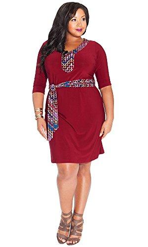 IGIGI Women's Plus Size Gillian Dress in Burgundy 14/16