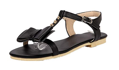 VogueZone009 Women Buckle PU Open-Toe Low-Heels Studded Sandals,CCALP014628 Black