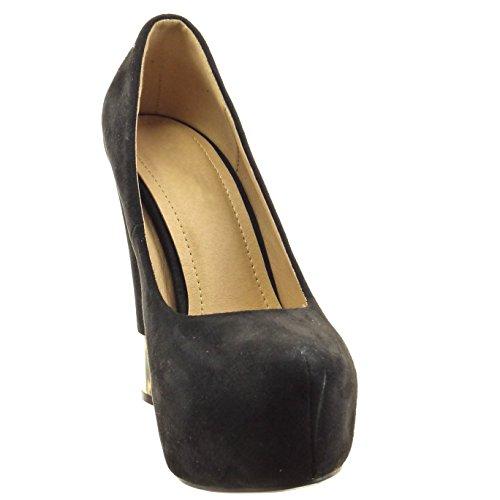Sopily - damen Mode Schuhe Pumpe Dekollete Plateauschuhe metallisch - Schwarz