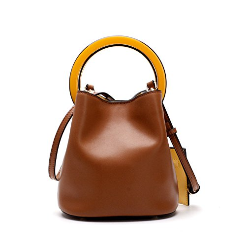 YXLONG Upgrade New Handle Standard Leather Shoulder Strap Big Ring Bucket Bag Tote Bag Shoulder Diagonal Bag Leather - Ring Bucket