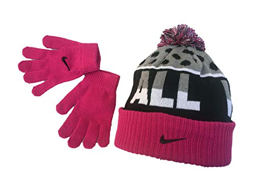 promo code 4b88e 7aff1 Nike Knit Beanie   Gloves Set (Big Girls One Size) - vivid pink,