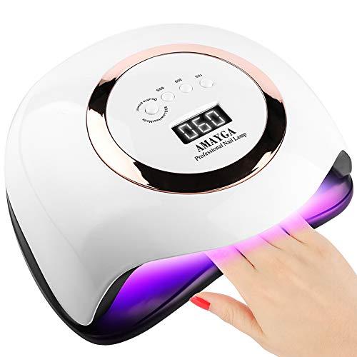 AMAYGA 168W LED UV Lampe Nageltrockner für Gel Nagellack,Auto-Sensor Aushärtelampe mit 4 Timer Einstellungen,Nagelwerkzeuge für Fingernagel und Zehennagel