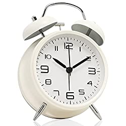 Betus Non-Ticking 4 Twin Bell Alarm Clock - Metal Frame 3D Dial with Backlight Function - Desk Table Clock for Home & Office - Milk White