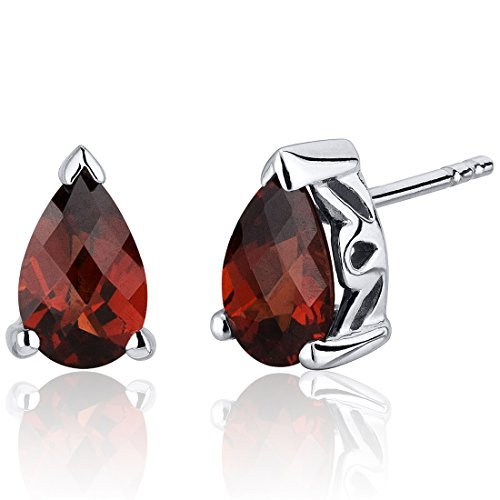 2.00 Carats Garnet Pear Shape Basket Style Stud Earrings in Sterling Silver Rhodium Nickel (Garnet Pear Earrings)