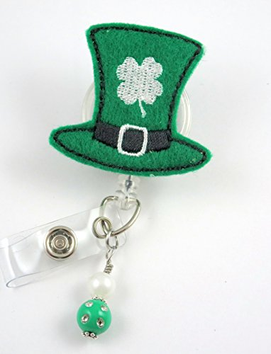 St. Patrick's Day Hat - Nurse Badge Reel - Retractable ID Badge Holder - Nurse Badge - Badge Clip - Badge Reels - Pediatric - RN - Name Badge Holder