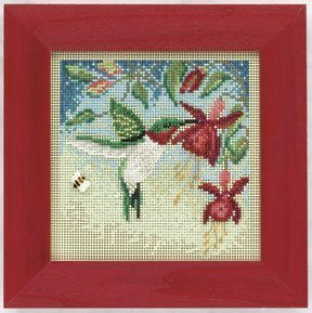 Hummingbird Beaded Counted Cross Stitch Kit Mill Hill Button