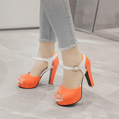 Orange Verano Dulce Pescado Altos Sandalias Impermeable Zapatos Rough De Boca Mujer De De De De Coreana Ocio Plataforma La Versión Color Tacones KPHY Heels 4CSnxPqI4